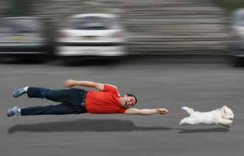 Man being pulled by the dog at high speed