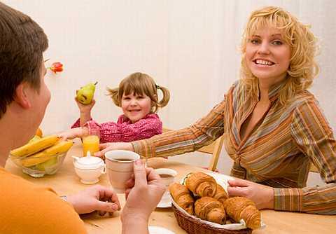 Family breakfast /></p> <p style=