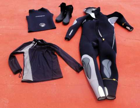Part of my swimming equipment, the neoprene suit and wetsuit vests